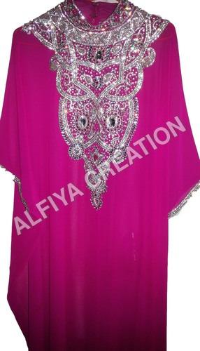 Gorgeous silver embroidery fancy dubai farasha kaftan dress