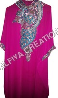 Stylish pink with heavy crystal work  farasha kaftan