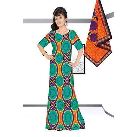 Printed Nighty with Dupatta