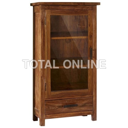 Vertical Wooden Kitchen Cabinet With Glass Door
