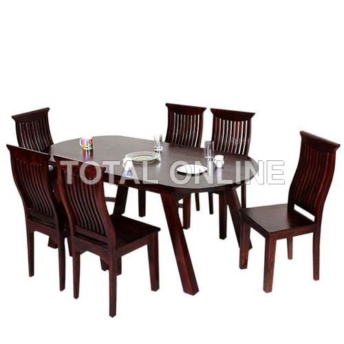 Wooden Dining Table With High Back Six Chairs