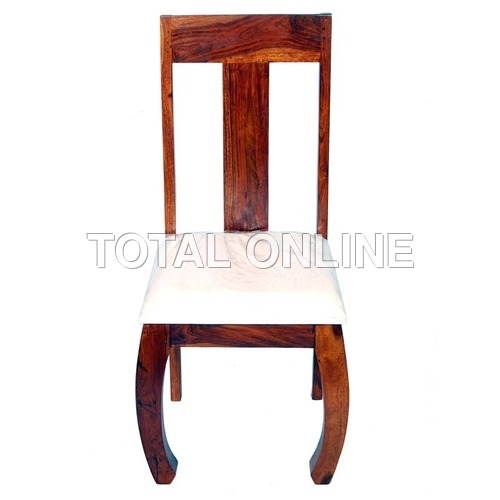 Cushiony Wooden Chair With Curved Legs
