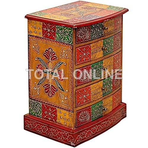 Wooden Handmade Hand Painted Drawer Cabinet