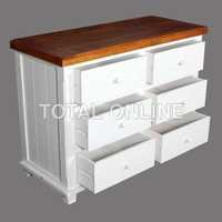 Poise White Six Drawer Chest Table