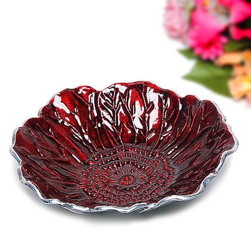 Red Sunflower Aluminum Serving Platter Bowl