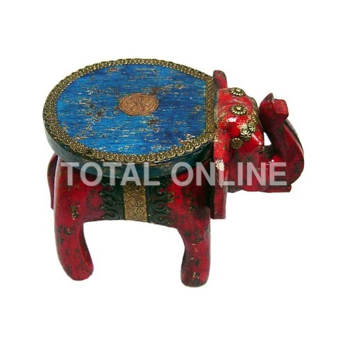 Realistic Wooden Elephant With A Table Top