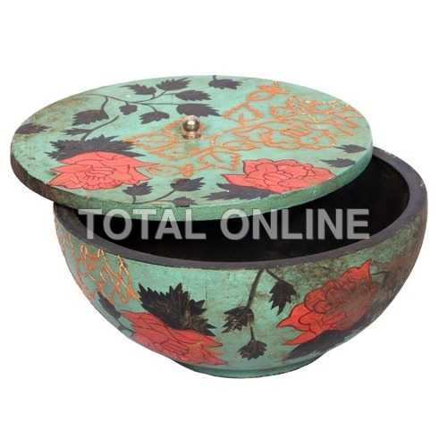Wooden Flower Design Hand Painted Bowl