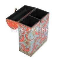 Wooden Hand Painted Box With Double Storage