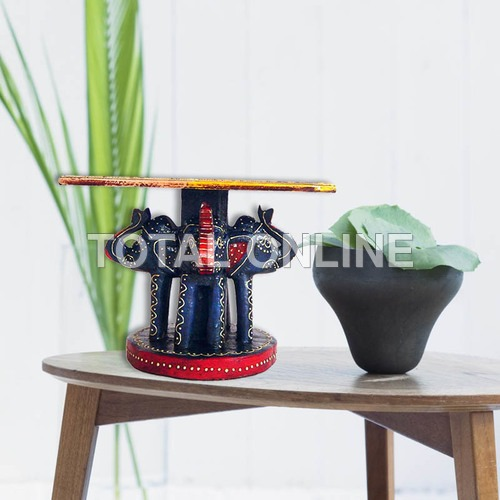 Artistic Hand Painted Wooden Elephant Shape Table