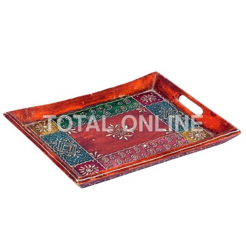 Wooden Multicolour Hand Painted Tray