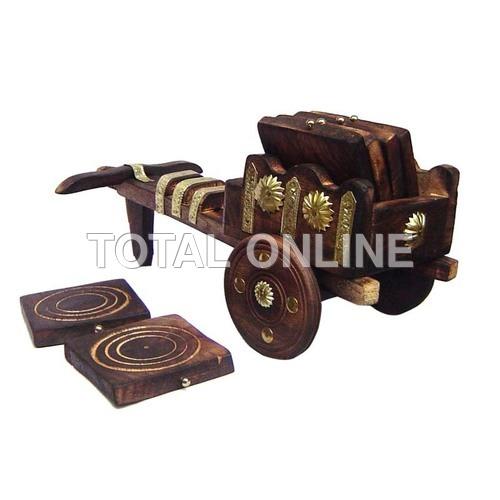 Ethnic Cart Designed Coaster Set Made of Wood