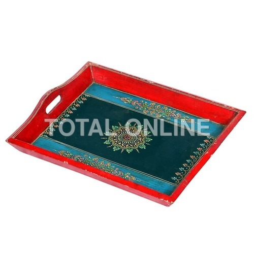 Wooden Rangoli Style Hand Painted Service Tray