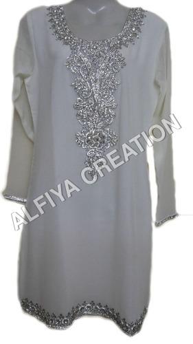 Silvery Embroidery Fancy Beach Wear Tunic Blouse