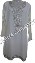 Silvery Embroidery Fancy Beach Wear Tunic Blouse