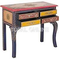 Exotic Wooden Drawer Console Table With Brass