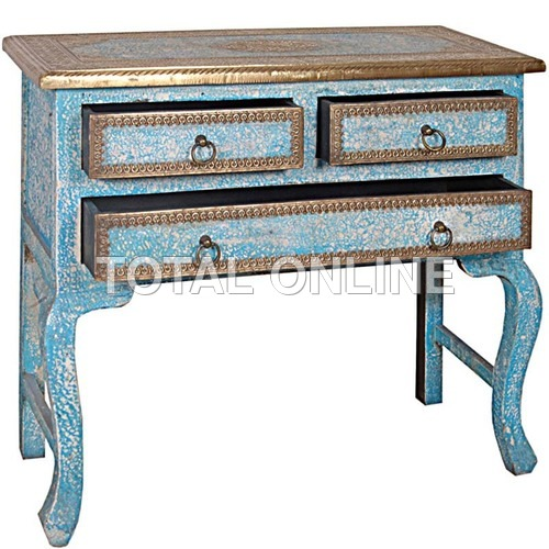 Wooden Hand Made Drawer Console Table With Brass