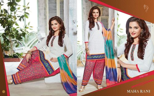 White And Pink Color Bottom Work Salwar Suits