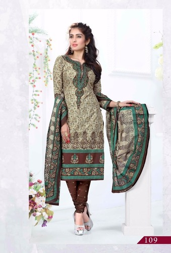 New Color Full Printed Dress Materials Wholesale