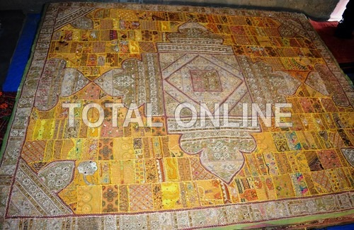 Beautiful  Bedsheet With Barmeri Carving works