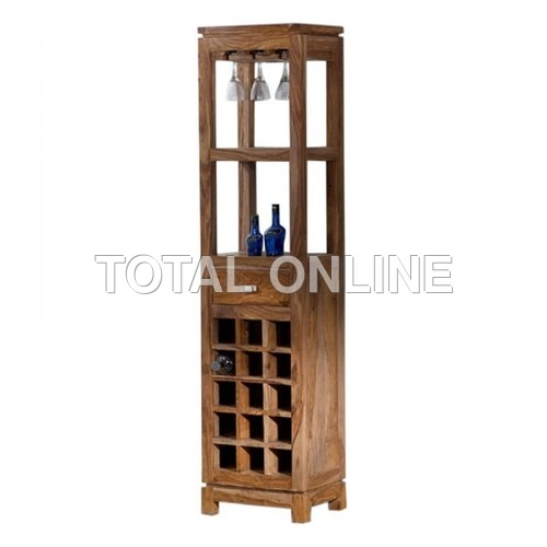 Tall Bar Unit With Blocks Made of Sheesham Wood