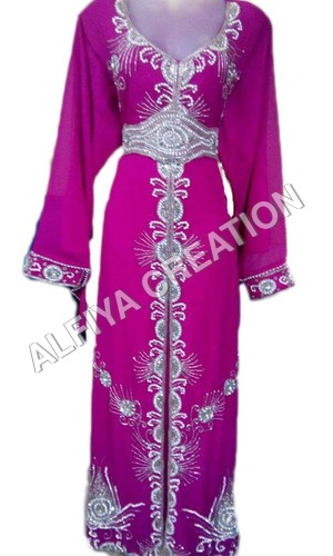 Crystal Embroidery Dubai Party Wear Kaftan Dress
