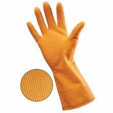 Orange Latex Rubber Gloves