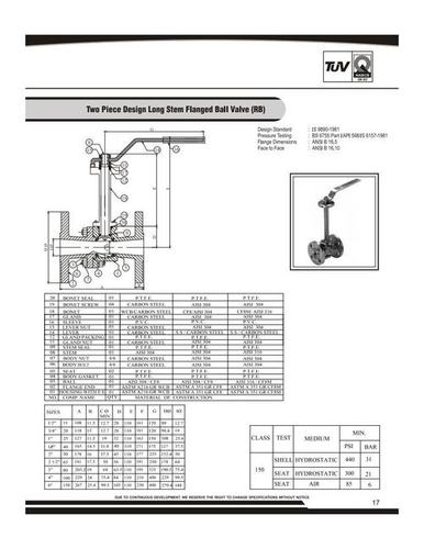 Two Piece Design Long Stem Flanged Ball Valve (RB)