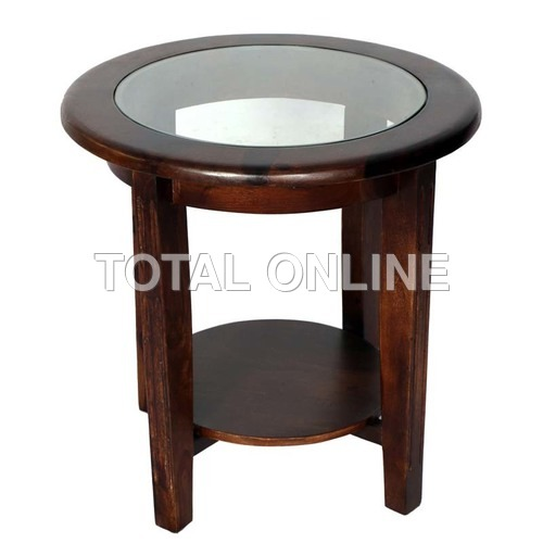 Exquisite Wooden Table in Round Style With Glass