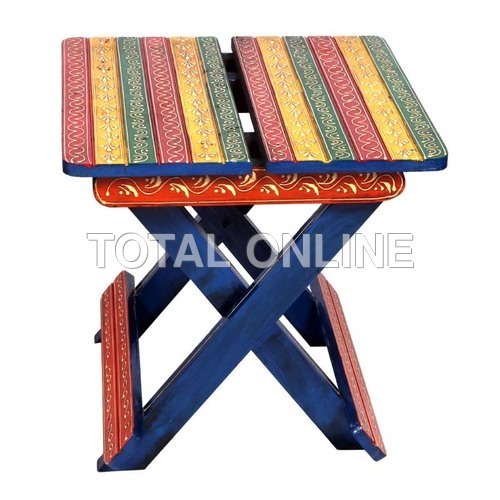 Riveting Wooden Folding Hand Painted Table