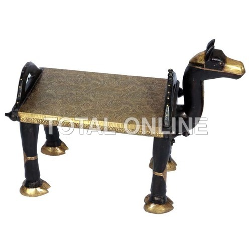 Wooden Camel Shape Stool With Metal Fitting