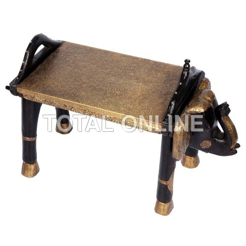 Wooden Elephant Shape Table With Metal Fitting