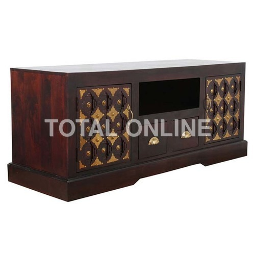 Artistic Wooden Entertainment Unit With Carvings