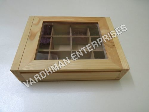 12 Cavity Raw Wooden Box