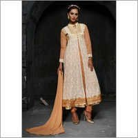 Beige Net Stylish Anarkali Gown