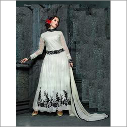 White Net Embroidered Anarkali Suit