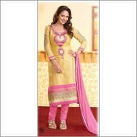 Yellow Cotton Straight Designer Salwar Suit