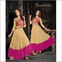 Beige Embroidered Unstitched Net Gown