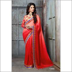 Orange Fancy Wedding Wear Saree