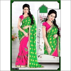 Embroidered Green Party Wear Saree