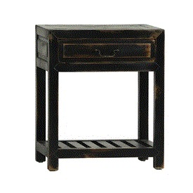 Black Distressed Bedside Table