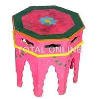 Octagon Shape Hand Painted Wooden Stool