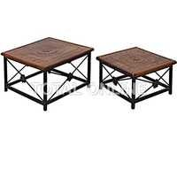 Set of Wooden and Iron Stools