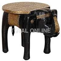 Wooden Elephant Coffee Table With Brass Fitting