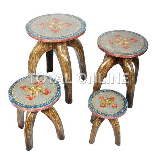 Astonishing Wooden Handpainted Round Leg Stool