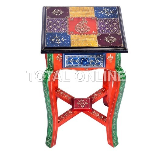 Wooden Square Shape Long Stool With Metal Fitting