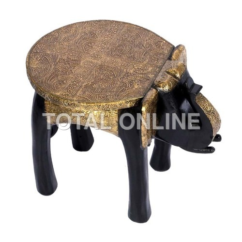 Contemporary Wooden Elephant Shape Stool Metal