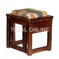 Ethinic Pouffe Table With A Stacable Stool