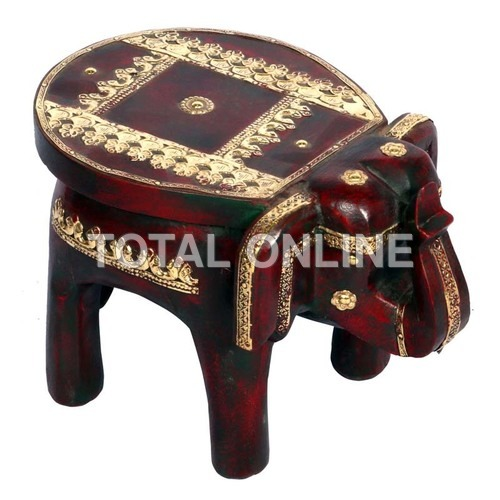 Fantastic Wooden Elephant Shape Round Stool