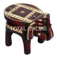 Fantastic Wooden Elephant Shape Round Stool