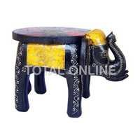 Picturesque Wooden Multicolor Elephant Style Stool